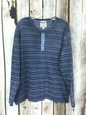 Lucky Brand True Indigo Men's XL Henley Top Blue Striped Long Sleeve Knit Shirt