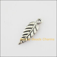 30 New Tiny Leaf Tibetan Silver Tone Charms Pendants 6.5x19mm