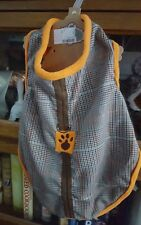 Pret 'a Paw Dog Couture by Jabara,plaid with orange fleece Puppy/Dog Large