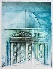 Peter Paul (1943-2013) signierte Farblithographie, Architekturmotiv in Blau 1978