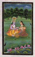 Handmade Indian Religious God Goddess Radha Krishna Painting Folk Hindu Artwork