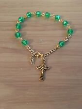 Catholic Irish Mint Green Rosary Bracelet, Handmade