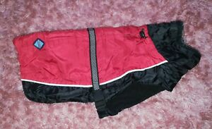 Repelz-It Red Black Waterproof Padded Parka Rain Dog Coat - size Medium 40cm