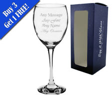 Personalised Any message engraved /& glittered Wine glass Birthday//Wedding//Xmas