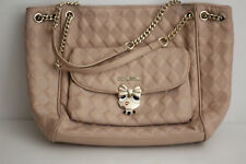 Love Moschino Quilted Love Bow Girl Tote Shoulder Handbag - Beige