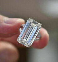 5.50 ct Emerald Cut Diamond Ring 925 Sterling Silver Engagement Ring VVS1/D !