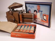 Vintage Toy Uncle Sam Toy Movie Projector + 5 Paper Film Rolls 1930-40s