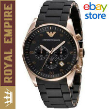 NEW EMPORIO ARMANI AR5905 ROSE GOLD BLACK CHRONOGRAPH MEN'S WATCH
