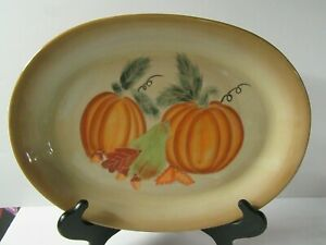 "Large Oval Harvest Pumpkin Stoneware Platter 15 7/8"" - Turkey Platter"