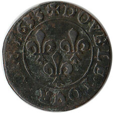 1633 (A) France Double Tournois Coin Louis XIII KM#72.1