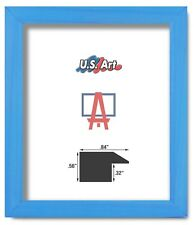 """US ART Frames .84"""" Cove Blue Minimal Solid Poplar Wood Picture Frames, Size A"""