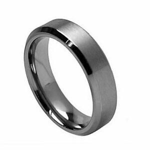 Men's 7mm Titanium Band Dark TITANIUM Ring Brushed Center Beveled Edge