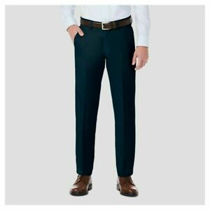 Haggar H26 Men's Stretch Straight Fit Trouser Pants Navy
