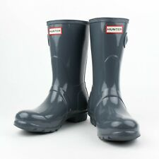 NIB HUNTER Graphite Original Short Gloss Rain Boots Shoes Size US 10 UK 8 EU 41