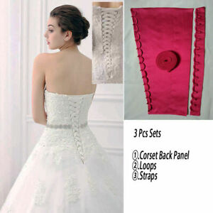 Wedding Dresses 3PCS Corset Kit Back Panel Satin Straps Loops Zipper Replacement