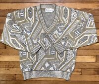 Vintage London Fog Sweater Made in USA Knit V-Neck 70s 80s Old Man Hipster M