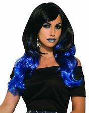 Midnight Raven Wig Black Blue Long Fancy Dress Halloween Adult Costume Accessory