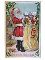 ~Red Robe~SANTA CLAUS~with Toy Sack~ Antique Embossed~Christmas Postcard-a508