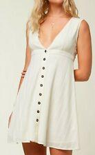 O'Neill AMORIA Womens V-Neck Button Front Mini Dress Small Off White NEW