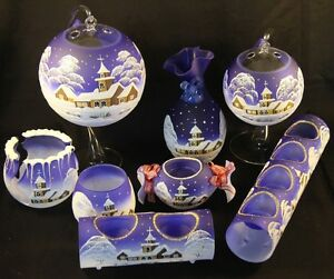 schöne Dekoration fürs Teelicht aus Glas in blau für Weihnachten handbemalt