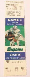 1987 Miami Dolphins New York Giants NFL Football Full Ticket Strike