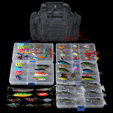 Fishing Tackle Bag with 5 Boxes Loaded 60 Lures Crankbaits Spinner Shad Swimbiat