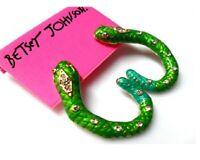 E285 BETSEY JOHNSON Crystal GREEN SERPENT Snake Earrings  US