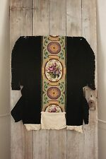 Antique French Needlepoint Arts and Crafts flair  black velvet chair