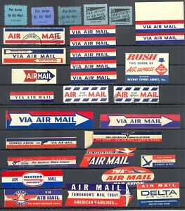 USA - AVIATION -AIR MAIL --75 x LABEL--VF -@ 8