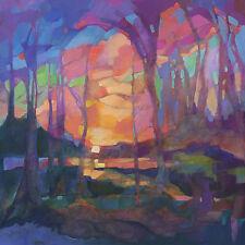 KMSchmidt 12x12 ART PRINT neo-craftsman landscape SUNSET sunrise TREES at lake