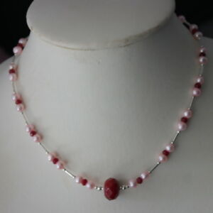 Beautiful Silver Necklace With Freshwater Pink Pearls And Ruby In Gift Box