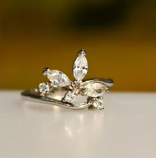 Silver tone flower style clear CZ stones  RING size 9