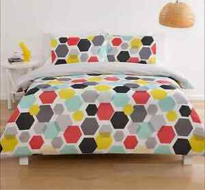 Honeycomb Geometric 3pc Doona / Quilt Cover Set Yellow Blue Red Grey- King Size