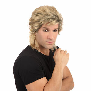 1980s Adults Fancy Dress Wig Blonde Mullet New Romantic Mens Wig 80s Accessory