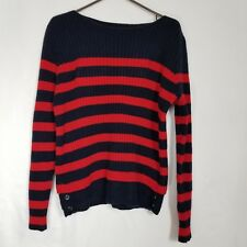 Madewell Womens Size Large Striped Crewneck Casual Sweater Red Black Merino Wool