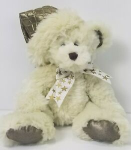 "First & Main Vanderbilt Plush Teddy Bear Gold Stars Hat Stuffed Animal 18"" Toy"