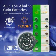 Naccon 20x AG5 1.5V Alkaline Button Battery LR754 G5 LR48 193 GP93A 393 SR754W