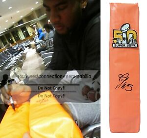 TJ Ward Denver Broncos Autograph Signed SB 50 TD Football Pylon Proof Photo COA