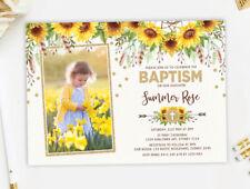 Sunflower Baptism Invitation Boho Yellow Gold Flower Christening Invite Easter