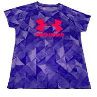 New Under Armour Girls Athletic T-Shirt UA Logo Heat Gear Size 4 Purple
