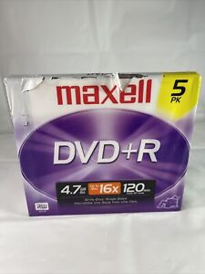 Maxell Recordable DVD 5 PK, DVD+R 4.7GB 16X 120 min. NEW Sealed, 5 Jewel cases