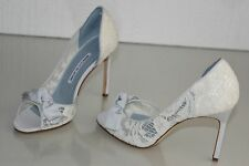 NEW MANOLO BLAHNIK SILVANU Lace d'Orsay Ivory Blue Peep Toe Shoes 38 40 wedding