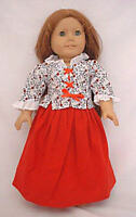 "Doll Clothes 18"" Colonial  Skirt Red Jacket Cap Fits American Girl Dolls"