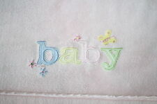Carters BABY BLANKET Pastel Letters Pink Plush Thick Crib Satin Butterfly Flower