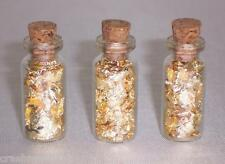 3pc SMALL GLASS BOTTLES OF GOLD LEAF FLAKE MINI VIALS WITH CORK TOP