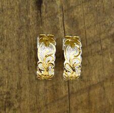 Hawaiian Jewelry 925 Silver Earrings 8mm Scroll Plumeria Half Moon # SE36605