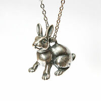 Silver Rabbit Necklace Bunny Rabbit Pendant Animal Jewelry Sterling Plated 225
