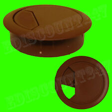 SOLID 60mm Desk Plastic Grommet BROWN Table Cable Tidy Wire Hole Cover UK SELLER