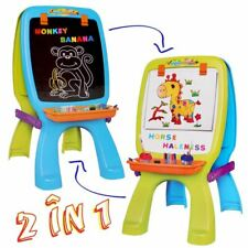 deAO Easel for Children Blackboard and Magnetic Whiteboard Playset