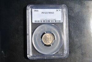 1866 United States Three Cent 3c Nickel PCGS MS63